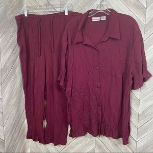 Fashion Bug Pant Suit in cranberry/maroon 26/28w
